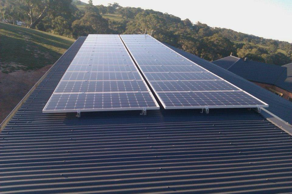 Large roof mounted Solar system in rural setting