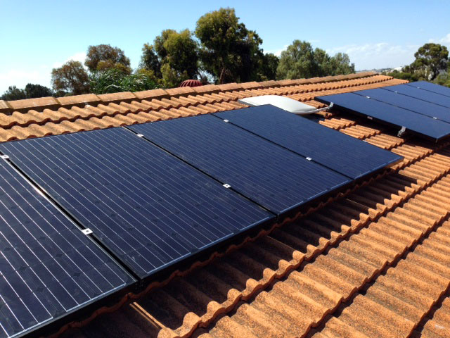 Roof mounted Solar panels in two sections